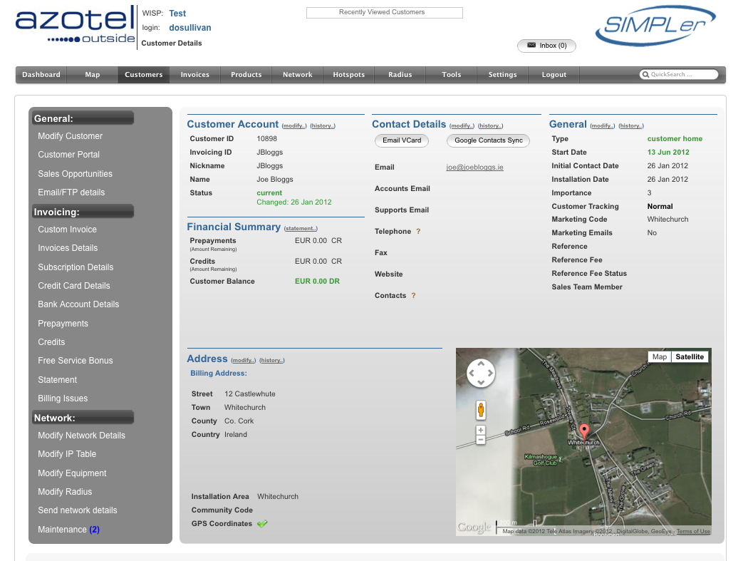Azotel SIMPLer ISP Billing and OSS User Interface